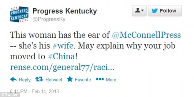 Harsh words: The group Progress Kentucky fired off a tweet February 14 accusing Elaine Chao of pushing McConnell to outsource American jobs to China
