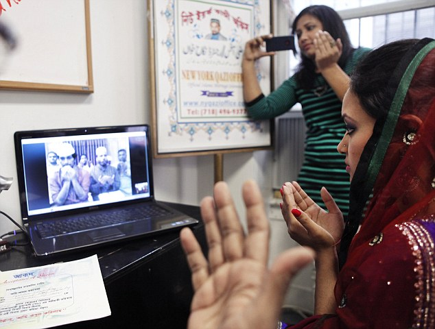 Proxy marriage: Punam Chowdhury, an American citizen, married her Bangladesh-based fiance, Tanvir Ahmmed, via Skype last month from a mosque in Jackson Heights, Queens