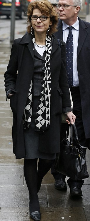 Trial: Vicky Pryce, the ex-wife of Britain's former energy secretary Chris Huhne, arrives at Southwark Crown Court today to hear the jury's verdict