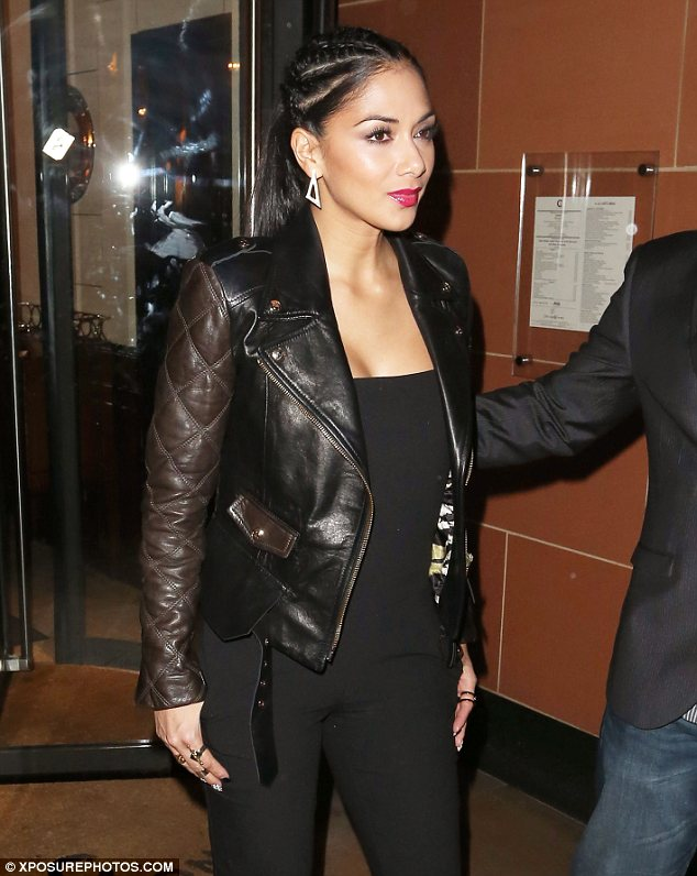 She's a beauty in braids: Nicole Scherzinger had her hair in cornrows as she headed out to C restaurant in London