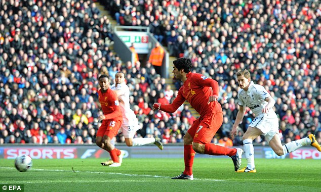 First strike: Luis Suarez prodded the ball past the onrushing Hugo Lloris to give Liverpool the lead