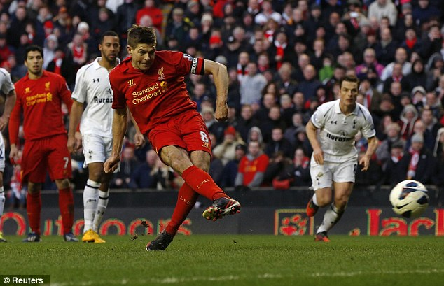 No mistake: Gerrard slotted home the penalty and sent Lloris the wrong way in front of the Kop