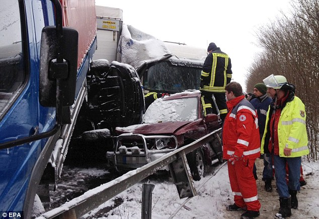 Investigators had to cut some people free from the wreckage following the huge collision