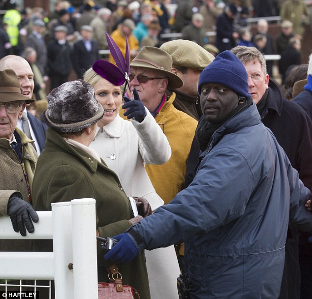 See I am related to the Queen: Zara Phillips argues with the security guard but eventually saw the funny side
