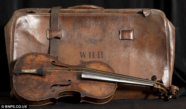 The violin and case discovered with Wallace's body 10 days after the disaster were water damaged