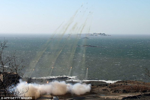 Assault: There are worries the drill could be the prelude to a fresh assault on South Korea or the West