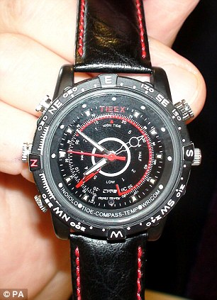 Sickening: The Tieex 4GB Waterproof HD Spy Watch DVR which Dr Bains used to film his victims has a built-in camera