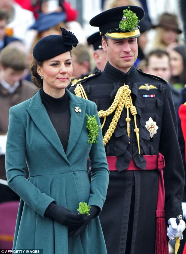 Ceremonial: The Duke of Cambridge wore an insignia aide to campe to the Queen for the first time today