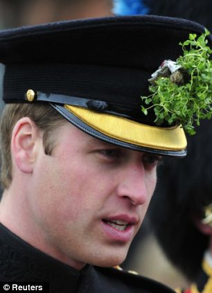 and Prince William sports a shamrock in his cap