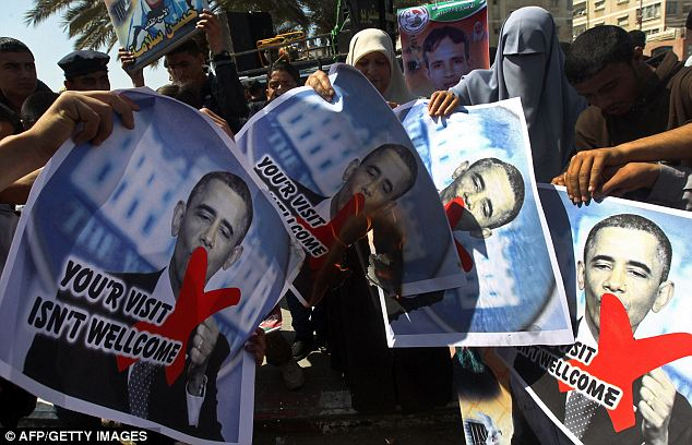 Controversial: Though the leaders may be happy to see him, there were protests in the Gaza Strip when he touched down