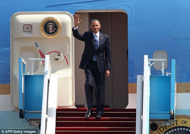 Touchdown: President Obama arrived in Israel on Wednesday for his first official trip to the region as President