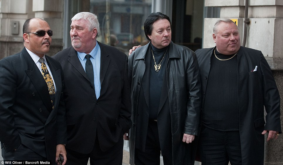 Respects: Mourners at the funeral of Bruce Reynolds who was jailed for 25 years for his part in the Great Train robbery