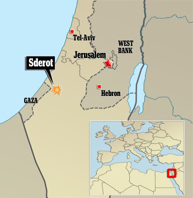 Attack: Two rockets exploded in the southern Israeli town of Sderot, near the Gaza border, this morning