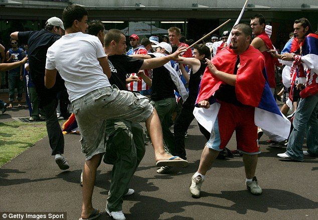 Heated rivalry: Serbian and Croatian tennis fans scuffle at the Australian Open in 2007