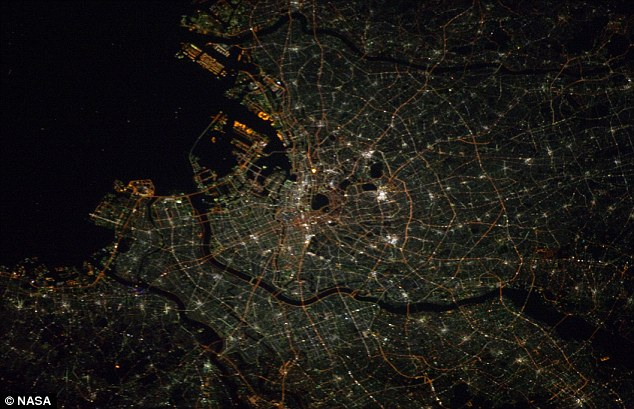 Intricate: The north west side of Tokyo Bay in Japan. The mammoth city has a population close to 13million