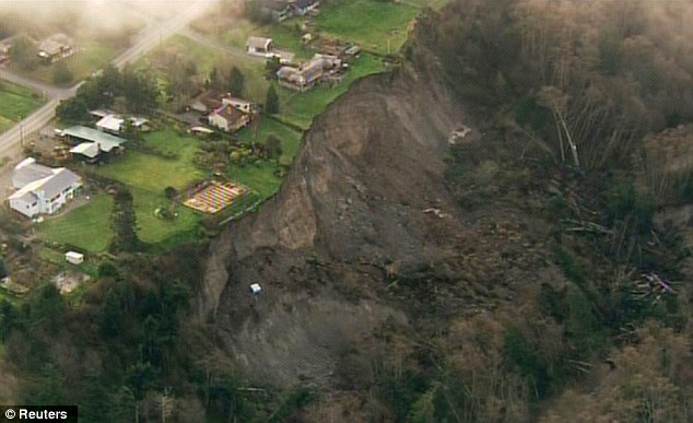 Devastating: At least 17 homes have been evacuated on Whidbey Island following a massive landslide