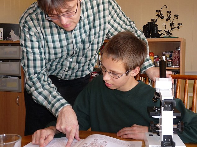 A science curriculum is part of the Romeikes' home schooling curriculum, including access to a microscope and laboratory equipment