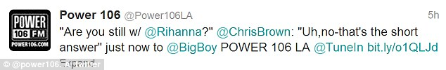 Breaking up: Chris Brown said during a radio interview with Power 106 that he and Rihanna have called it quits