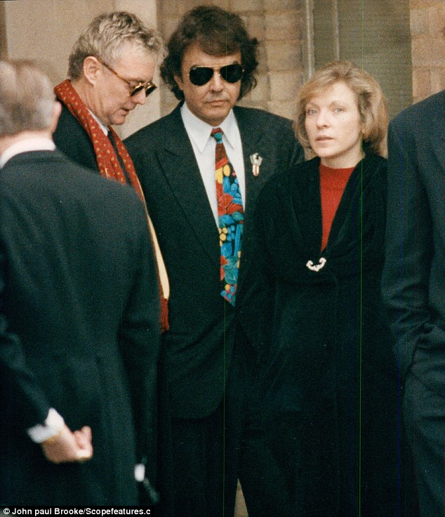 Mary at Freddie Mercury's funeral with Queen drummer Roger Taylor and Dave Clark