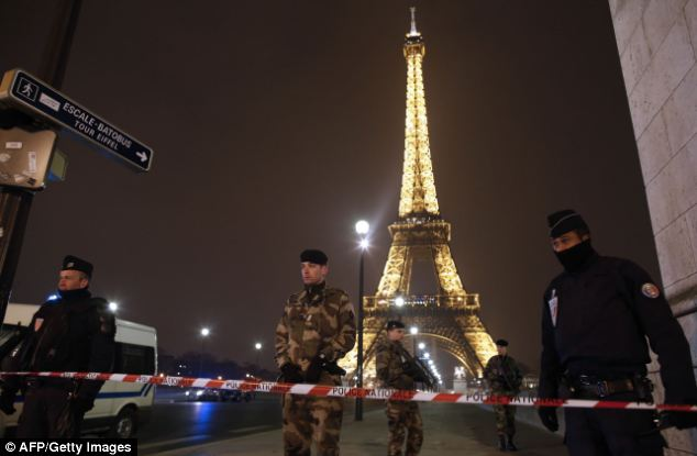 Tonight, police were standing guard near the Eiffel Tower in Paris after an anonymous phone call announced an attack on the monument