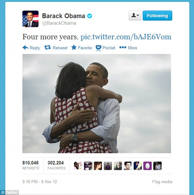 Crafting his own message: This picture released by the Obama campaign after the President's reelection victory became the most re-tweeted post in Twitter history