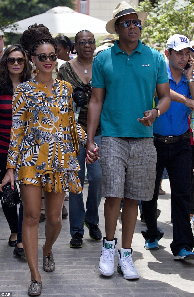 Power couple: Beyonce and Jay-Z stepped out in Havana, Cuba, on Thursday as they dined out for lunch to celebrate their fifth wedding anniversary