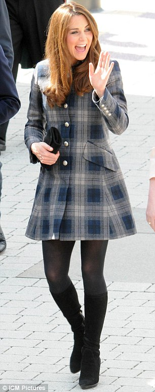 Kate, who customarily wears a flash of tartan when over the border as a nod to her Scottish title, chose a rather short tartan coat for the start of her Scottish tour today