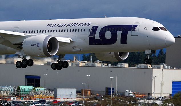 Final check: A Boeing-owned 787 production plane built for LOT Polish Airlines lands after a demonstration flight last week meant to be the final certification test for the 787's new battery system