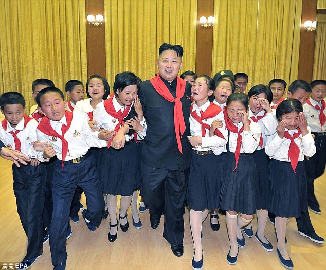 Just like Justin Bieber: North Korean leader Kim Jong Un surrounded by weeping KCU children after getting reception more like a pop star on an official visit last year
