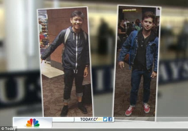 Discrimination: The brothers were shocked to discover two young men in first class - one Caucasian and one Filipino - wearing jeans and hooded sweatshirts