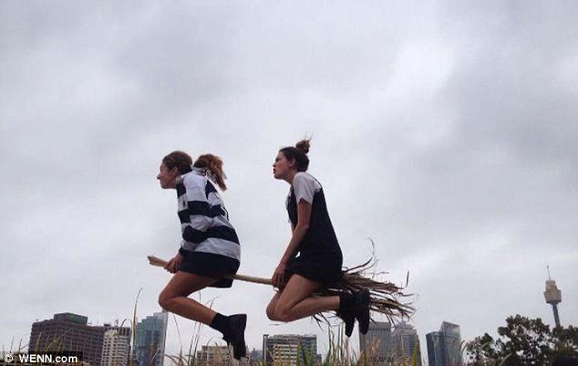 Double trouble: These witches have found a broomstick that could fit two