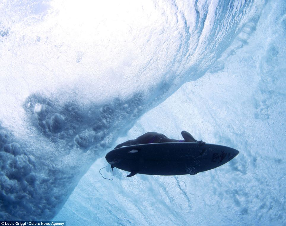 Silhouette: Surfers not only had to brave the shark-infested waters during the Volcom Pro competition but also watch out for the reef jutting up from the sea floor