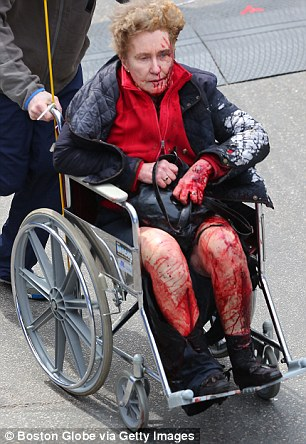 A person who was injured in an explosion near the finish line
