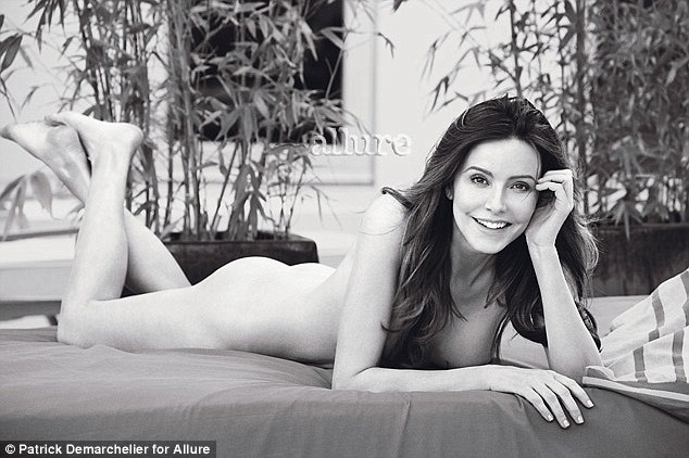 Sultry: Cougar Town actress Christa Miller poses on her stomach in a classic black and white frame for the magazine