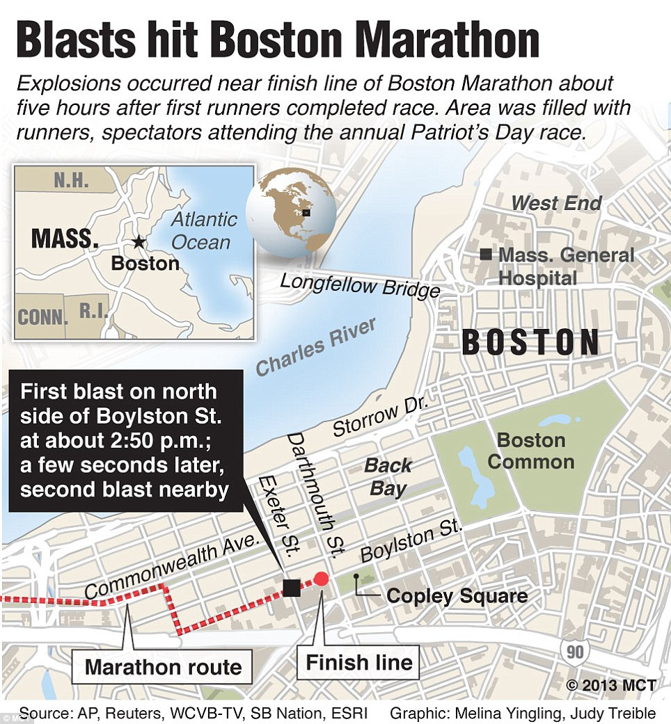 Map of the bomb sites in relation to the city and the marathon which was run on Monday