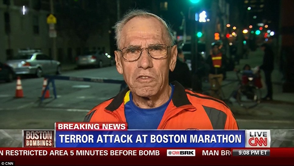 Lucky Escape: Boston Marathon runner Bill Iffrig appears on Piers Morgan on CNN after the marathon explosions on April 15, 2013