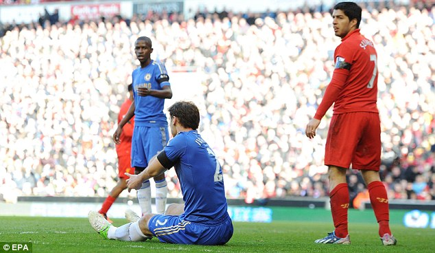 Stunned: The Chelsea defender doesn't seem to know how to react