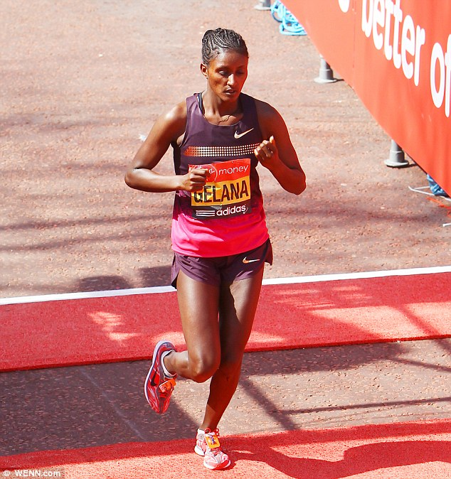 Gelana carried on running but was unable to make up the ground, finishing 16th