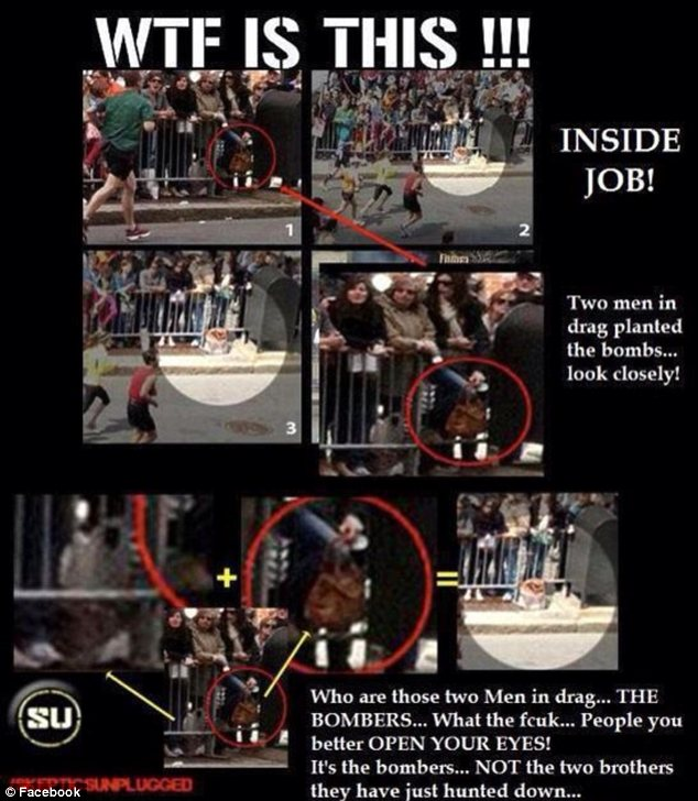 'Two men in drag planted the bombs ... look closely!' To the untrained eye, even a purse in a crowd can look like a bomber's backpack