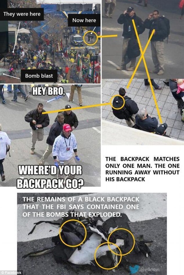 Grassy knoll: Conspiracy theorists claim a backpack worn by a mysterious man in black matched the one recovered at the scene, and that its owner was seen fleeing Copley Square without the bag