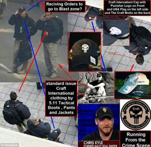 A man who seemed to be a security guard at the scene of the Boston bombings wore a hat with an emblem that resembles that of private security firm Craft International