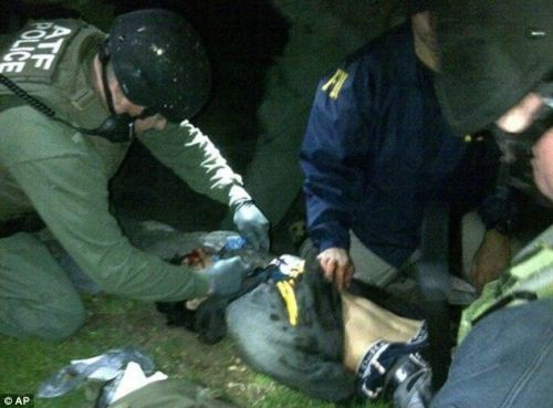 Apprehended: Dzhokhar is searched and given medical attention after he is found hiding on Friday evening