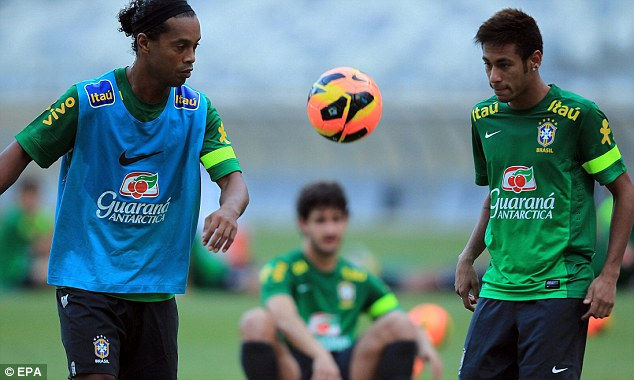 Brazil, past and future: Neymar is joined by Ronaldinho in the international set up