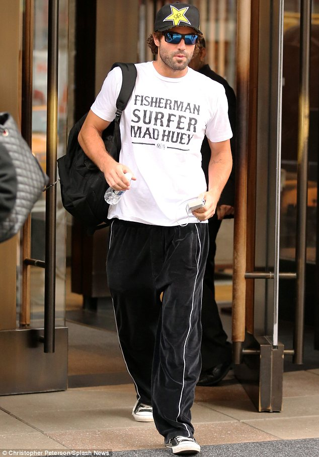 Casual customer: Brody Jenner was dressed down in tracksuit bottoms and a baseball cap as he left the Trump Soho Hotel