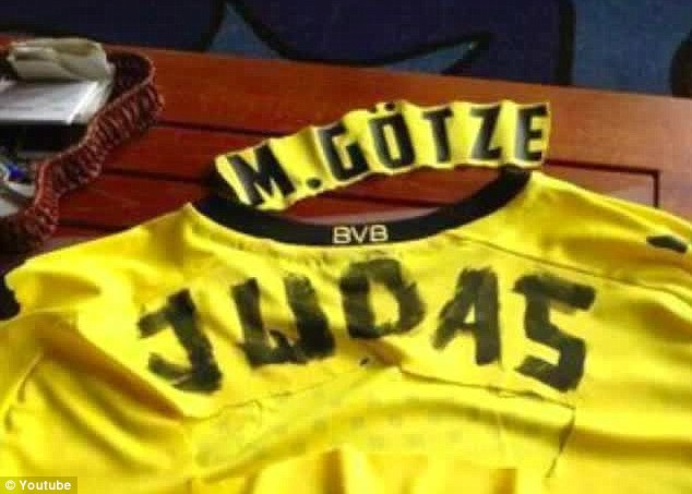 Extreme: This fan cut out Gotze's name and replaced it with the word JUDAS