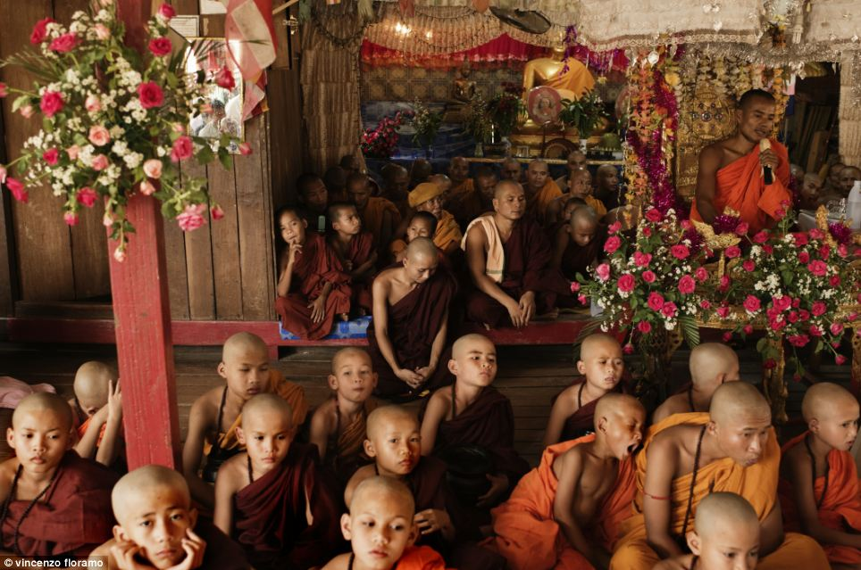 The abbot of the Thirisanda Buddhist Monastery instructs the newly initiated young monks on what they can expect of their monastic life