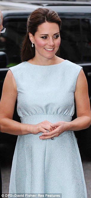 Looking swell: Kate has been criticised for her small bump but it was clearly on show this evening