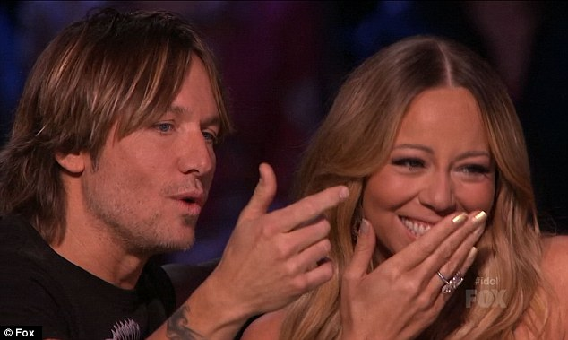 Not the response she was hoping for: Mariah could not resist having a chuckle as Keith delivered a one-liner