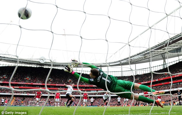 Blast from the past: Arsenal fans watched Robin van Persie net from the spot for United to equalise