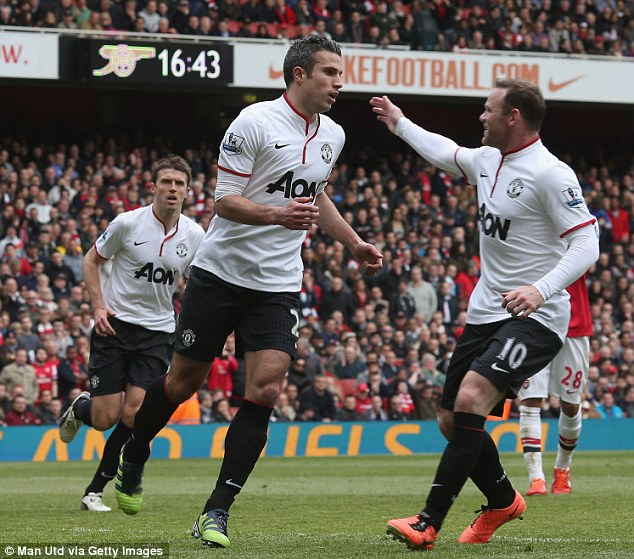 Returning: Robin van Persie smashed his penalty home to square the game up at 1-1